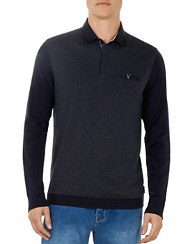 Ted Baker - Friend Diamond-Textured Long-Sleeve Polo Shirt