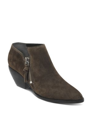 Women'S Hannah Pointed Toe Western Suede Ankle Booties in Olive