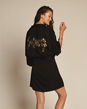Midnight Bakery - Floral & Sequin Back Short Robe