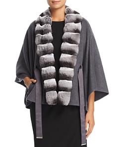 Maximilian Furs - Chinchilla Fur Trim Cashmere Cape - 100% Exclusive