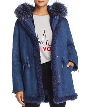 Maximilian Furs - Rabbit Fur-Lined Denim Parka with Fox & Kalgam Lamb Shearling Trim - 100% Exclusive