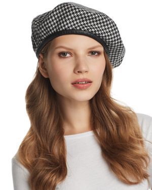 Kate Wool Houndstooth Beret, Black Check