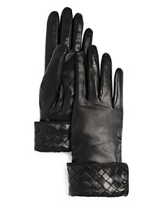 Bloomingdale's - Woven Detail Leather Gloves - 100% Exclusive