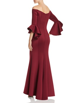 AQUA - Off-the-Shoulder Bell Sleeve Scuba Gown - 100% Exclusive