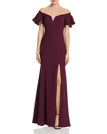 Avery G - Off-the-Shoulder Ruffled-Sleeve Gown