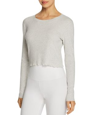 SKARLETT BLUE Daydream Jersey Cropped Long-Sleeve Top in Grey Heather