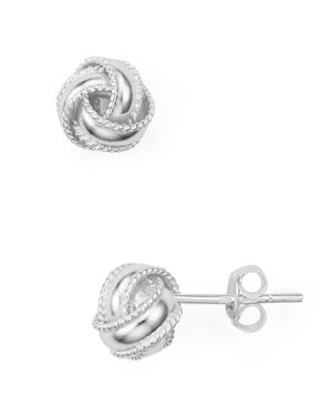 ARGENTO VIVO Triple Knot Stud Earrings in Silver