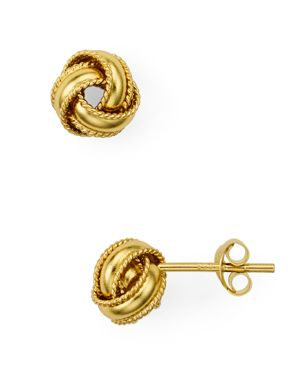 ARGENTO VIVO Triple Knot Stud Earrings in Gold