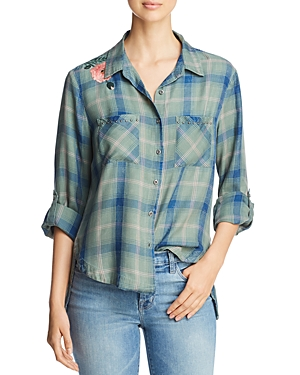 Billy T Embroidered & Studded Plaid Shirt