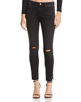 AQUA - Studded-Hem Distressed Skinny Jeans in Charcoal Wash - 100% Exclusive