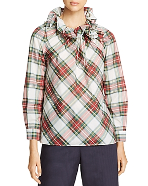 Weekend Max Mara Dovere Ruffled Plaid Top - 100% Exclusive