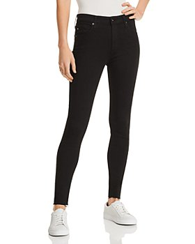 AG - Farrah Raw-Hem Ankle Jeans in Black Ink
