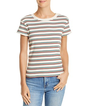 Honey Punch - Rainbow-Stripe Rib-Knit Tee