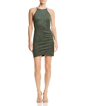AQUA - Ruched Faux Suede Dress - 100% Exclusive