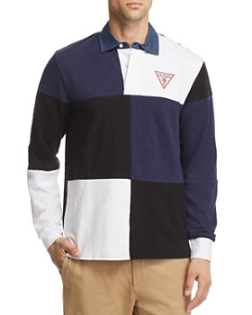 GUESS - Caleb Long-Sleeve Color-Block Polo Shirt