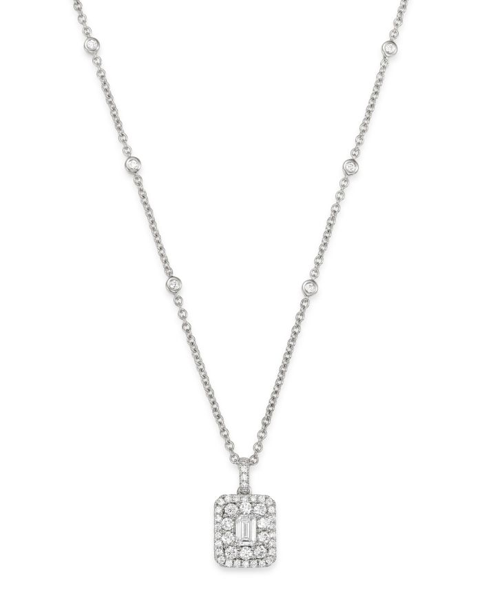 Bloomingdale's Diamond Halo Square Pendant Necklace in 14K White Gold, 1.0 ct. t.w. - 100% Exclusive  | Bloomingdale's