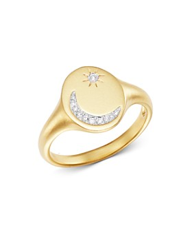 Meira T - 14K Yellow Gold Pavé Diamond Moon & Star Signet Ring