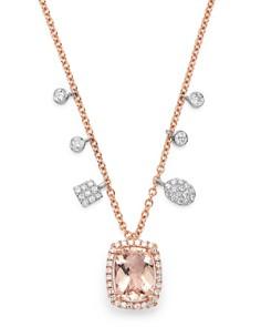 "Meira T - 14K Rose Gold Morganite & Diamond Adjustable Pendant Necklace, 18"""