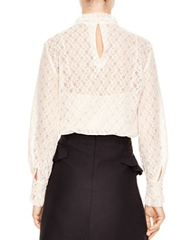32eb8b0a35695f Sandro - Cacahuete Crosshatched Lace Top Sandro - Cacahuete Crosshatched  Lace Top