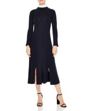 Sandro Peau Ribbed A-Line Midi Dress
