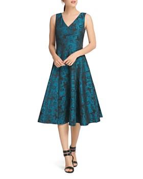 Donna Karan - Jacquard Sleeveless Fit-and-Flare Dress