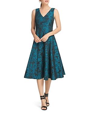 Donna Karan Jacquard Sleeveless Fit-and-Flare Dress