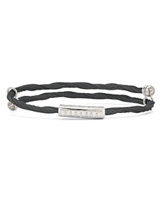 ALOR - Cable Bangle Bracelet with Diamonds