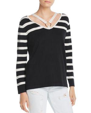 AVEC Striped Strappy Sweater in Black/Cream