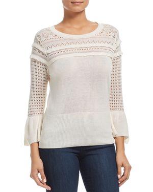 HEATHER B Pointelle Bell-Sleeve Sweater in Cream