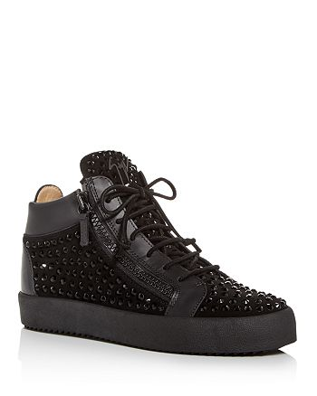 Giuseppe Zanotti - Men's Crystal Stud Suede Mid Top Sneakers