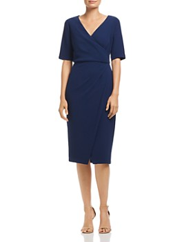 Adrianna Papell - Textured Crepe Faux Wrap Dress