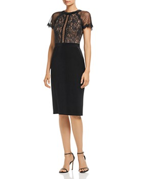 Tadashi Shoji - Velvet & Lace Short-Sleeve Dress