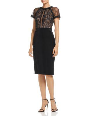 Velvet & Lace Short Sleeve Dress by Tadashi Shoji