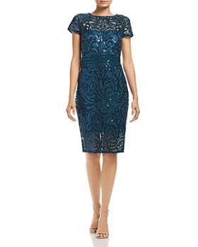 Tadashi Petites - Sequin Embroidered Cap-Sleeve Dress