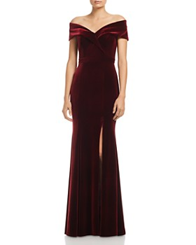 AQUA - Off-the-Shoulder Fluted Velvet Gown - 100% Exclusive