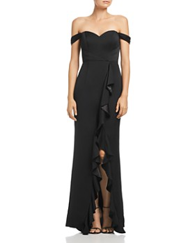 Bariano - Edie Satin Ruffle Front Gown