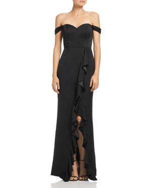 BARIANO Edie Satin Ruffle Front Gown in Black