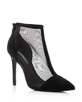 Charles David - Women's Cashmere Pointed Toe Suede & Mesh High-Heel Ankle Booties