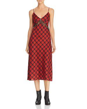 DIVINE HÉRITAGE Plaid & Lace Slip Dress in Black