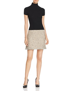 PAULE KA - Knit & Natte Detail Mini Dress