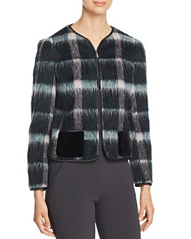Armani - Fur-Effect Wool-Blend Plaid Jacket