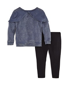 Splendid - Girls' Ruffled Mineral-Wash Top & Leggings Set - Little Kid