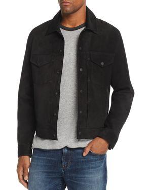 Men'S Suede Trucker Jacket in Black