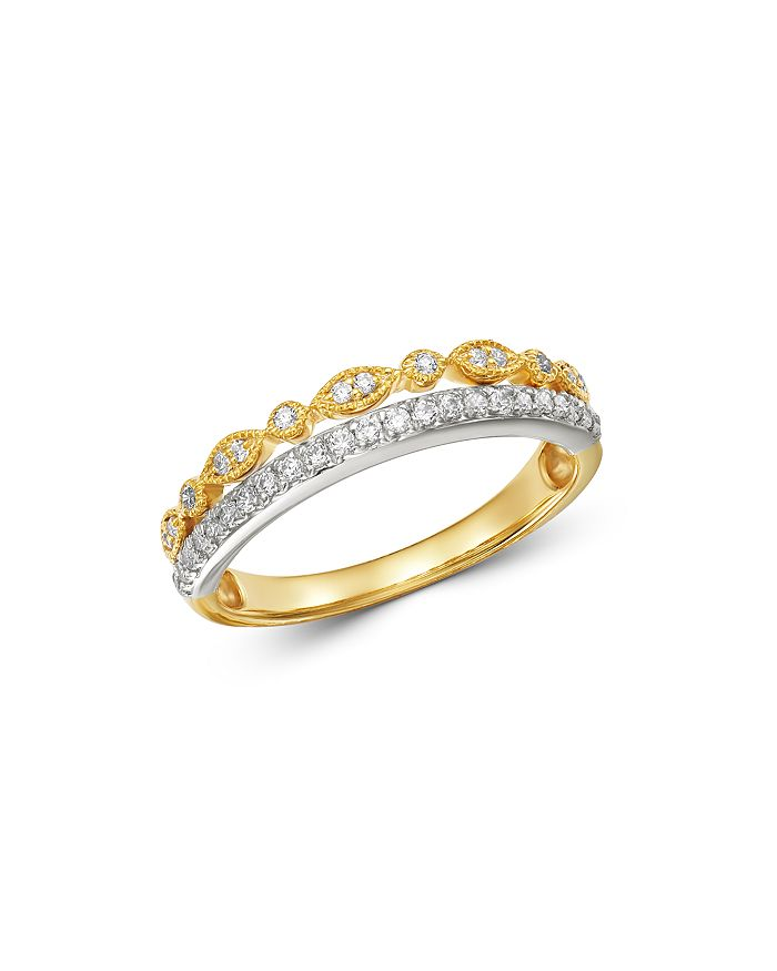 Bloomingdale's - Diamond Two-Tier Band Ring in 14K White Gold & 14K Yellow Gold, 0.25 ct. t.w. - 100% Exclusive