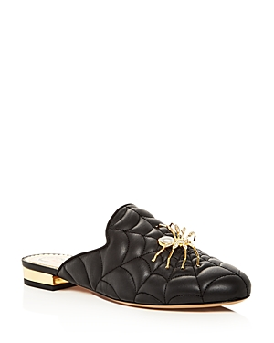 Charlotte Olympia WOMEN'S WEB-QUILTED LEATHER MULES