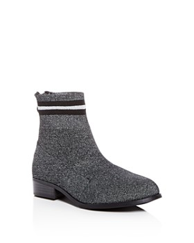 STEVE MADDEN - Girls' JGallery Glitter Knit Low-Heel Booties - Little Kid, Big Kid