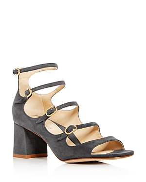 Marion Parke Women's Bernadette Suede Strappy Mary Jane Block-Heel Sandals