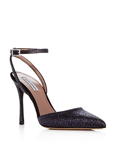 Tabitha Simmons - Women's Elvin Glitter Ankle Strap Pointed Toe Pumps