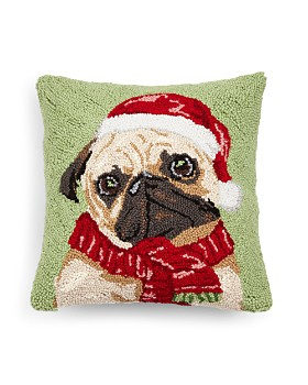 "Peking Handicraft - Holiday Pug Decorative Pillow, 16"" x 16"""