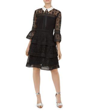 Starh Lace Tiered Dress, Black